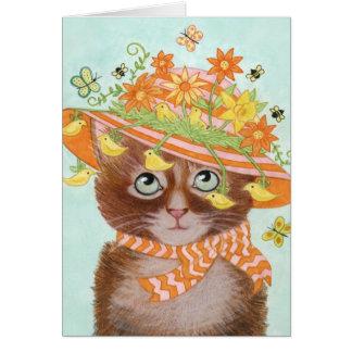 Cartão Gato da páscoa na capota da páscoa com borboletas