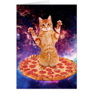 Cartão gato da pizza - gato alaranjado - espace o gato