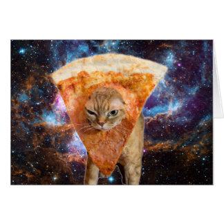 Cartão Gato da pizza no espaço que veste a fatia da pizza