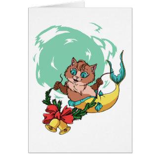 Cartão Gato da sereia com festão do Natal