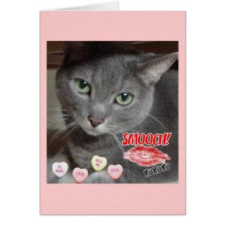 Cartão Gato das cinzas azuis do russo do dia dos