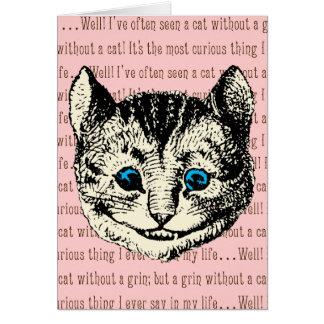 Cartão Gato de Cheshire - vintage Alice no país das