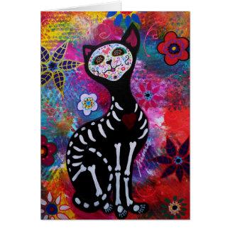 Cartão Gato de Diâmetro de los Muertos Meow por Prisarts