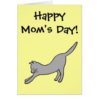 Cartão Gato de esticão cinzento no dia feliz amarelo da