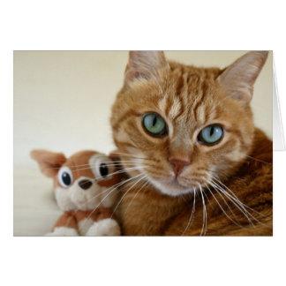 Cartão Gato de gato malhado alaranjado e seu melhor amigo