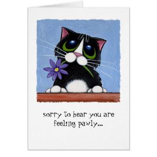 Cartão Gato de Pawly do sentimento com flor