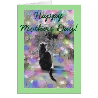 Cartão Gato de prata do dia das mães com corações pastel