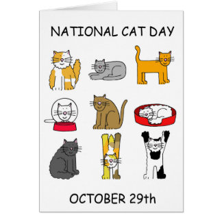 Cartão Gato dia o 29 de outubro nacional