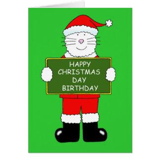 Cartão Gato do aniversário do dia de Natal no equipamento