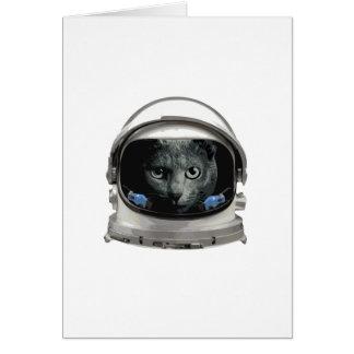 Cartão Gato do astronauta do capacete de espaço