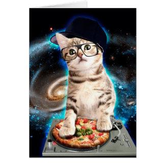 Cartão gato do DJ - gato do espaço - pizza do gato -