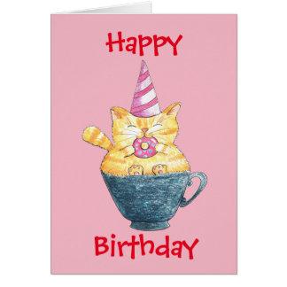 Cartão Gato do gengibre do feliz aniversario