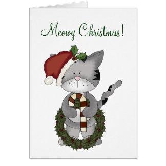 Cartão Gato do Natal com grinalda+Bastão-Humor dos doces