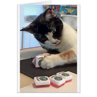 Cartão Gato do palhaço do Mah Jongg Notecard