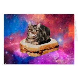 Cartão gato do pão - gato do espaço - gatos no espaço