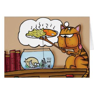 Cartão Gato do peixe com batatas fritas