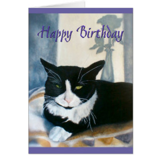 Cartão Gato do smoking do feliz aniversario ao lado da
