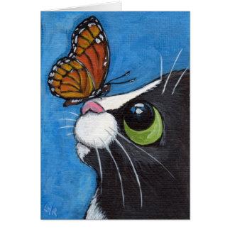 Cartão Gato do smoking e borboleta do vice-rei