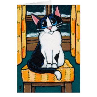 Cartão Gato do smoking na pintura nevado da janela