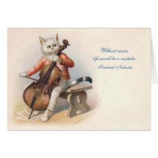 Cartão Gato do Violoncelo-Playing do Victorian