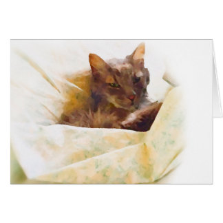 Cartão Gato doce em folhas de cama