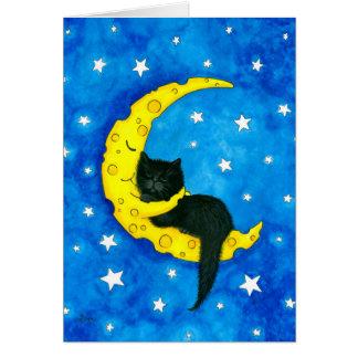 Cartão Gato dos sonhos doces na lua por Bihrle