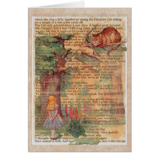 Cartão Gato e Alice de Cheshire