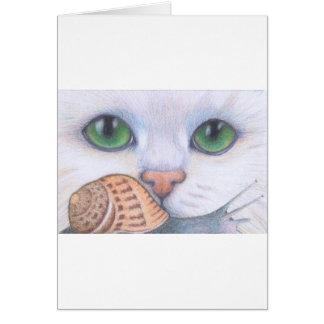 Cartão Gato e caracol brancos