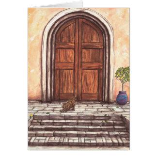 Cartão Gato e porta