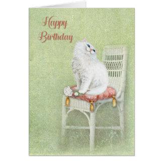 Cartão gato e rosas brancos do aniversário no travesseiro