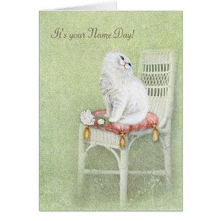 Cartão Gato e rosas Dia-brancos conhecidos no travesseiro