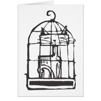 Cartão Gato em uma gaiola de pássaro