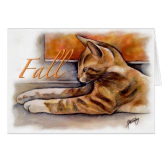 Cartão Gato em uma série da janela: Queda