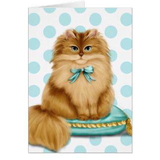 Cartão Gato extravagante engraçado no travesseiro