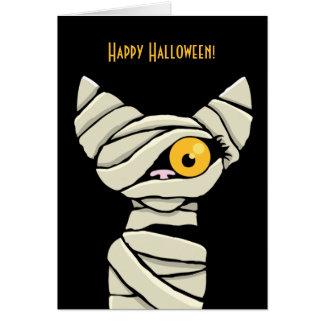 Cartão Gato feliz da mamã do Dia das Bruxas