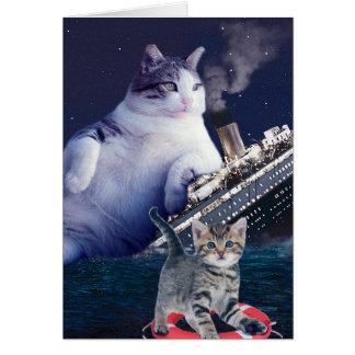 Cartão - Gato gordo - gatos engraçados titânicos - gato