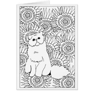 Cartão Gato mal-humorado da coloração adulta geométrica