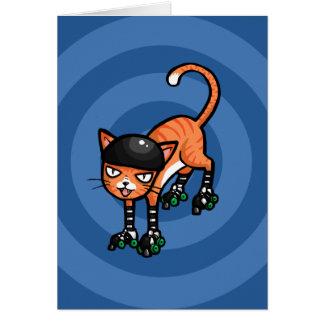 Cartão Gato malhado alaranjado em rollerskates