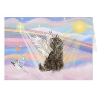 Cartão Gato norueguês da floresta do gato malhado - anjo