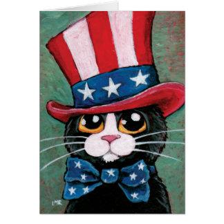 Cartão Gato patriótico do smoking | feliz 4o julho