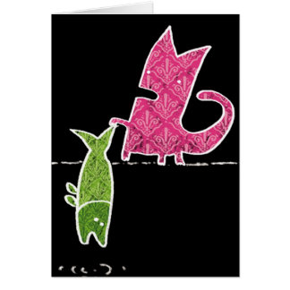 Cartão Gato+peixes