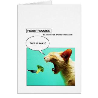 Cartão Gato peludo e brócolos do ~ de Funnies