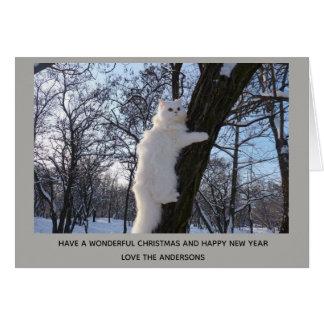 Cartão Gato persa branco acima de um Natal da árvore