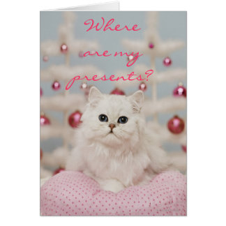 Cartão Gato persa que senta-se no travesseiro cor-de-rosa