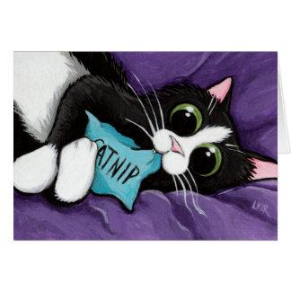 Cartão Gato preto & branco com travesseiro do Catnip -