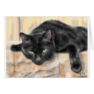 Cartão Gato preto com olhos verdes