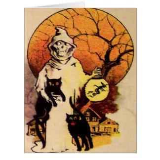 Cartão Gato preto da ceifeira (vintage o Dia das Bruxas)