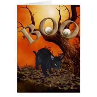 Cartão Gato preto do Dia das Bruxas