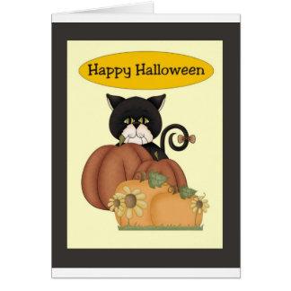 Cartão Gato preto do Dia das Bruxas com abóboras