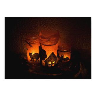 Cartão Gato preto do Dia das Bruxas com luminares e